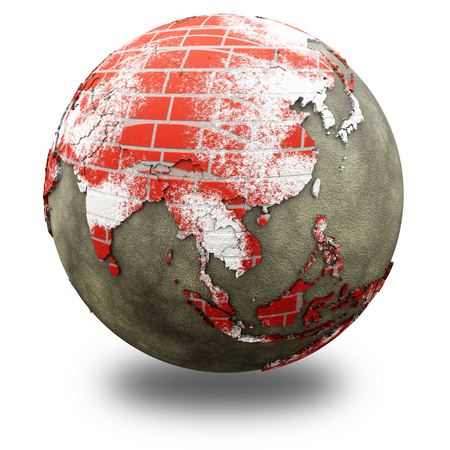 red earth: Southeast Asia on brick wall model of planet Earth with continents made of red bricks and oceans of wet concrete. 3D illustration isolated on white background with shadow.