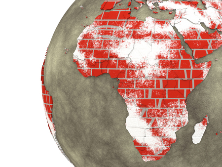 brick earth: Africa on brick wall model of planet Earth with continents made of red bricks and oceans of wet concrete. 3D rendering.
