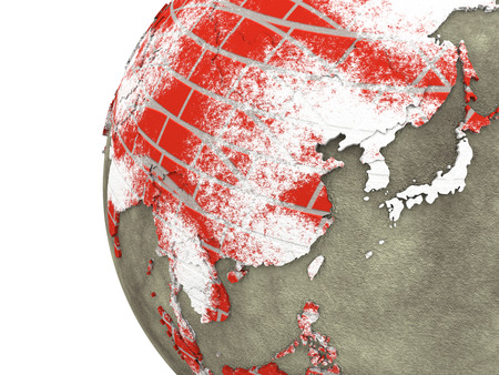 brick earth: Southeast Asia on brick wall model of planet Earth with continents made of red bricks and oceans of wet concrete. 3D rendering.