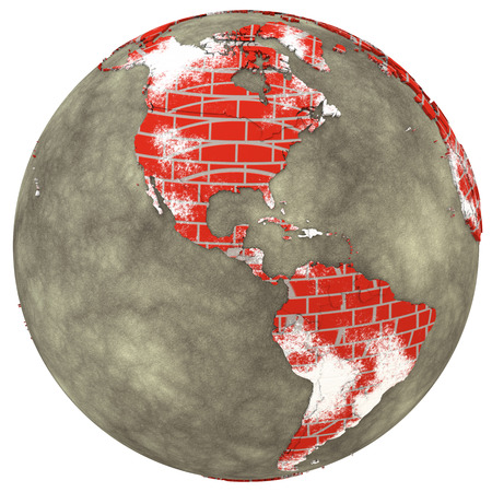 red america: American continents on brick wall model of planet Earth with continents made of red bricks and oceans of wet concrete. 3D illustration isolated on white background. Stock Photo