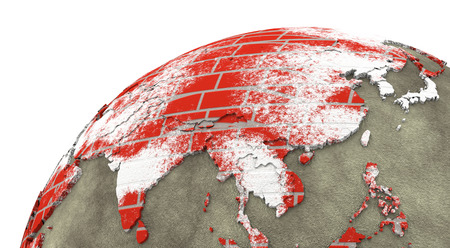 southeast: Southeast Asia on brick wall model of planet Earth with continents made of red bricks and oceans of wet concrete. 3D rendering.