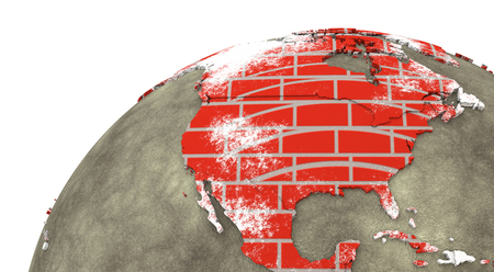 brick earth: North America on brick wall model of planet Earth with continents made of red bricks and oceans of wet concrete. 3D rendering. Stock Photo
