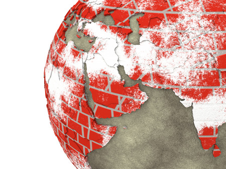 brick earth: Middle East region on brick wall model of planet Earth with continents made of red bricks and oceans of wet concrete. 3D rendering.