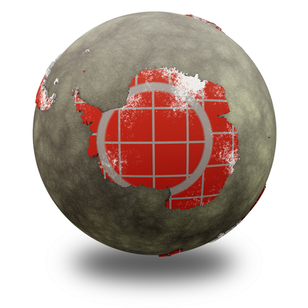 background antarctica: Antarctica on brick wall model of planet Earth with continents made of red bricks and oceans of wet concrete. 3D illustration isolated on white background with shadow. Stock Photo