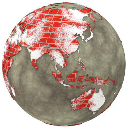 the oceans: Southeast Asia on brick wall model of planet Earth with continents made of red bricks and oceans of wet concrete. 3D illustration isolated on white background.