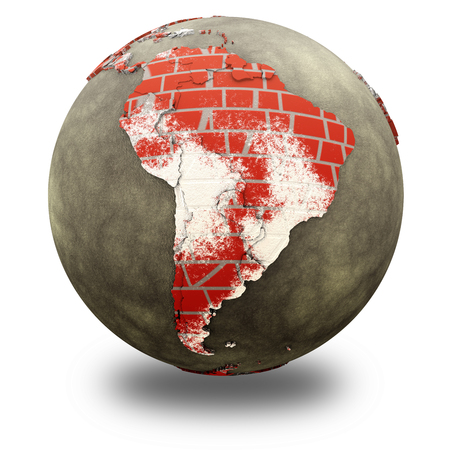 brick earth: South America on brick wall model of planet Earth with continents made of red bricks and oceans of wet concrete. 3D illustration isolated on white background with shadow. Stock Photo