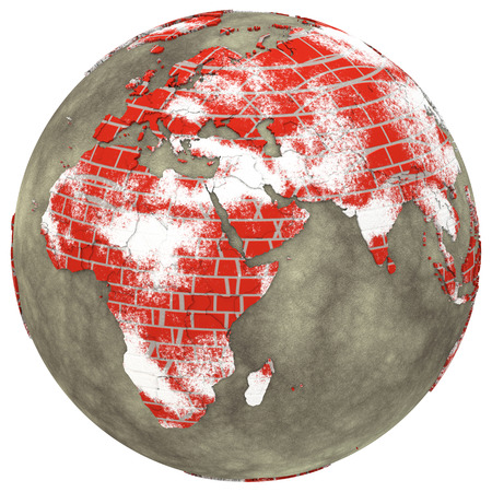 brick earth: Africa on brick wall model of planet Earth with continents made of red bricks and oceans of wet concrete. 3D illustration isolated on white background.