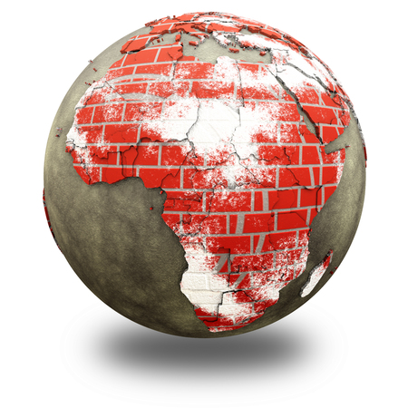 brick earth: Africa on brick wall model of planet Earth with continents made of red bricks and oceans of wet concrete. 3D illustration isolated on white background with shadow.