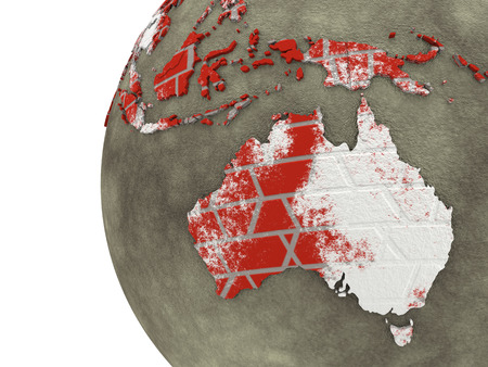 red earth: Australia on brick wall model of planet Earth with continents made of red bricks and oceans of wet concrete. 3D rendering. Stock Photo