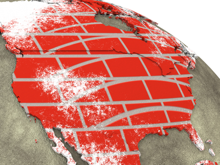 brick earth: USA on brick wall model of planet Earth with continents made of red bricks and oceans of wet concrete. 3D rendering.