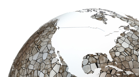 the oceans: North America on metallic model of planet Earth. Shiny steel continents with embossed countries and oceans made of steel plates. 3D rendering.