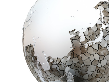 southeast asia: Southeast Asia on metallic model of planet Earth. Shiny steel continents with embossed countries and oceans made of steel plates. 3D rendering. Stock Photo