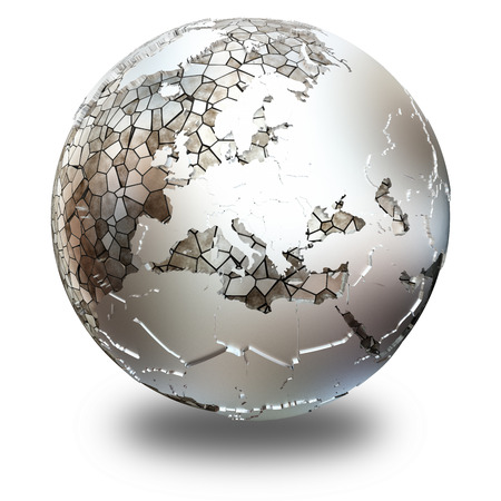 diplomatic: Europe on metallic model of planet Earth. Shiny steel continents with embossed countries and oceans made of steel plates. 3D illustration isolated on white background with shadow. Stock Photo