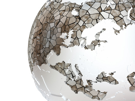 the oceans: Europe on metallic model of planet Earth. Shiny steel continents with embossed countries and oceans made of steel plates. 3D rendering.