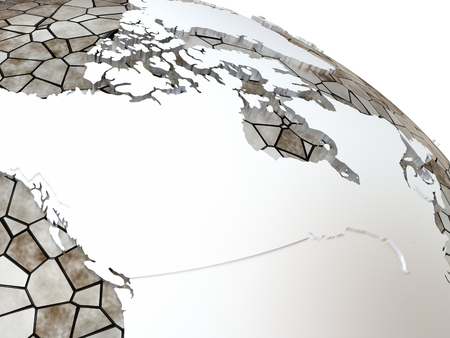 the oceans: Canada on metallic model of planet Earth. Shiny steel continents with embossed countries and oceans made of steel plates. 3D rendering.