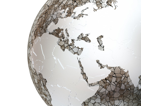middle east: Middle East region on metallic model of planet Earth. Shiny steel continents with embossed countries and oceans made of steel plates. 3D rendering.