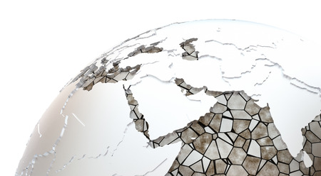 the oceans: Middle East region on metallic model of planet Earth. Shiny steel continents with embossed countries and oceans made of steel plates. 3D rendering.
