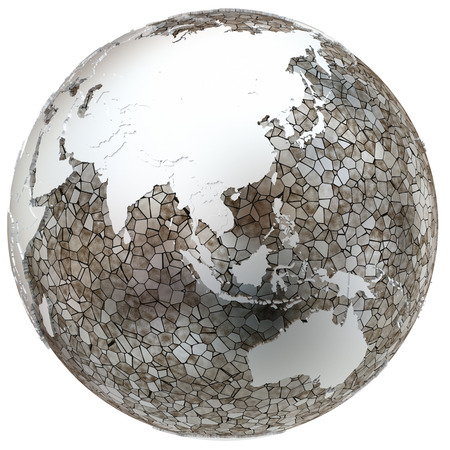 southeast asia: Southeast Asia on metallic model of planet Earth. Shiny steel continents with embossed countries and oceans made of steel plates. 3D illustration isolated on white background.