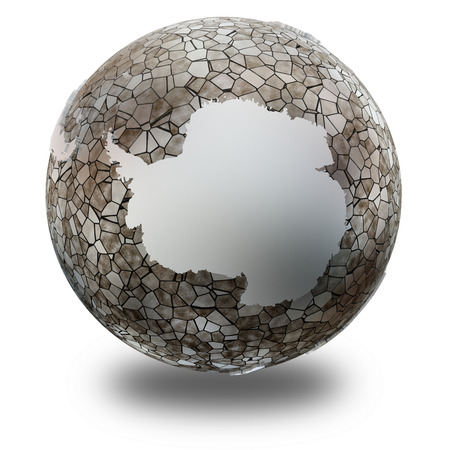 background antarctica: Antarctica on metallic model of planet Earth. Shiny steel continents with embossed countries and oceans made of steel plates. 3D illustration isolated on white background with shadow.