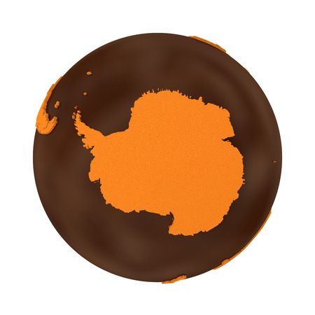 crusty: Antarctica on chocolate model of planet Earth. Sweet crusty continents with embossed countries and oceans made of dark chocolate. 3D illustration isolated on white background. Stock Photo