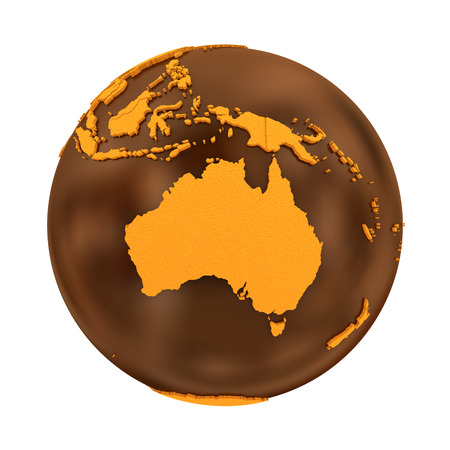 crusty: Australia on chocolate model of planet Earth. Sweet crusty continents with embossed countries and oceans made of dark chocolate. 3D illustration isolated on white background.