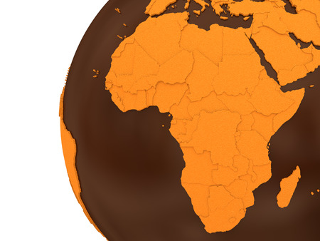 crusty: Africa on chocolate model of planet Earth. Sweet crusty continents with embossed countries and oceans made of dark chocolate. 3D rendering.
