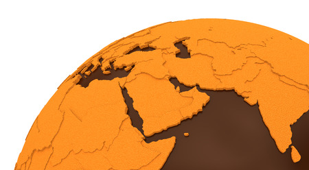 crusty: Middle East region on chocolate model of planet Earth. Sweet crusty continents with embossed countries and oceans made of dark chocolate. 3D rendering.