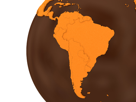 crusty: South America on chocolate model of planet Earth. Sweet crusty continents with embossed countries and oceans made of dark chocolate. 3D rendering. Stock Photo