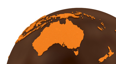 crusty: Australia on chocolate model of planet Earth. Sweet crusty continents with embossed countries and oceans made of dark chocolate. 3D rendering. Stock Photo