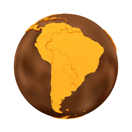 crispy: South America on chocolate model of planet Earth. Sweet crusty continents with embossed countries and oceans made of dark chocolate. 3D illustration isolated on white background.