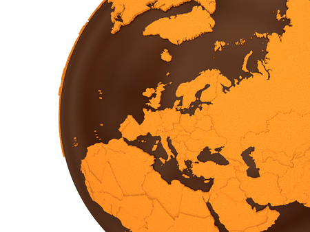 crusty: Europe on chocolate model of planet Earth. Sweet crusty continents with embossed countries and oceans made of dark chocolate. 3D rendering.