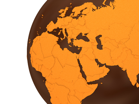sugary: Middle East region on chocolate model of planet Earth. Sweet crusty continents with embossed countries and oceans made of dark chocolate. 3D rendering.