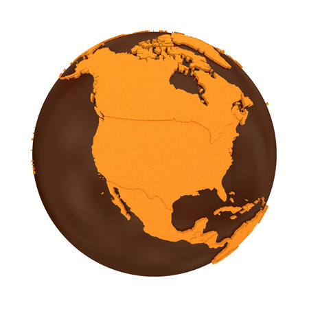 crispy: North America on chocolate model of planet Earth. Sweet crusty continents with embossed countries and oceans made of dark chocolate. 3D illustration isolated on white background.