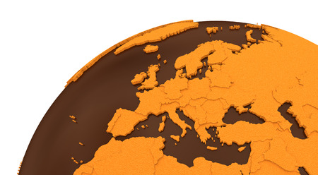 sugary: Europe on chocolate model of planet Earth. Sweet crusty continents with embossed countries and oceans made of dark chocolate. 3D rendering.
