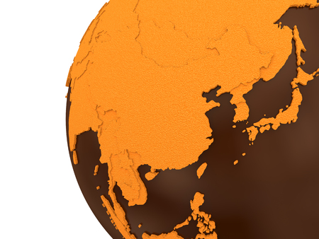 crusty: Southeast Asia on chocolate model of planet Earth. Sweet crusty continents with embossed countries and oceans made of dark chocolate. 3D rendering.
