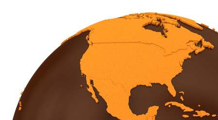 crispy: North America on chocolate model of planet Earth. Sweet crusty continents with embossed countries and oceans made of dark chocolate. 3D rendering.