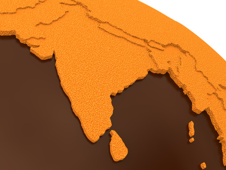 crusty: India on chocolate model of planet Earth. Sweet crusty continents with embossed countries and oceans made of dark chocolate. 3D rendering.