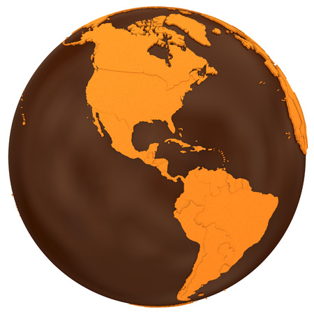 crusty: American continents on chocolate model of planet Earth. Sweet crusty continents with embossed countries and oceans made of dark chocolate. 3D illustration isolated on white background.