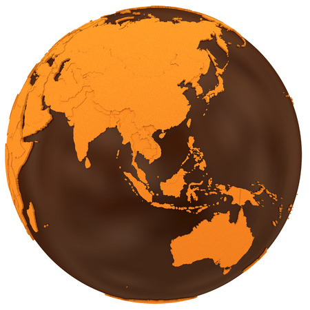 sugary: Southeast Asia on chocolate model of planet Earth. Sweet crusty continents with embossed countries and oceans made of dark chocolate. 3D illustration isolated on white background.