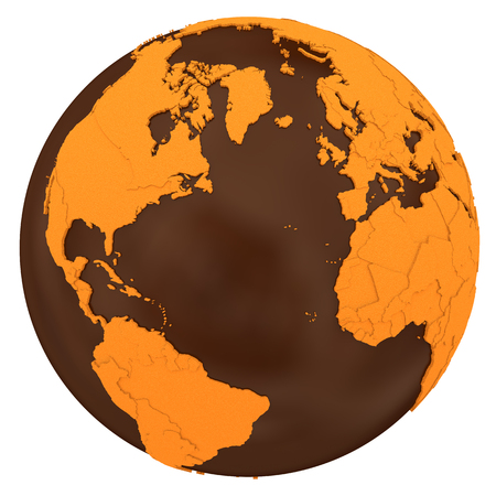 crusty: North America and Europe on chocolate model of planet Earth. Sweet crusty continents with embossed countries and oceans made of dark chocolate. 3D illustration isolated on white background.