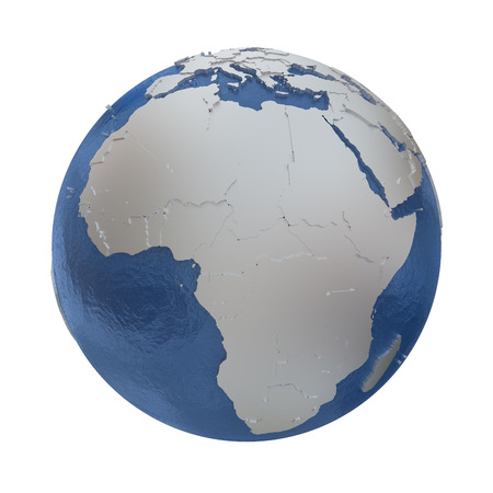 watery: Africa on elegant silver 3D model of planet Earth with realistic watery blue ocean and silver continents with visible country borders. 3D illustration isolated on white background. Stock Photo