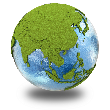 grassy: Southeast Asia on 3D model of planet Earth with grassy continents with embossed countries and blue ocean. 3D illustration isolated on white background with shadow.