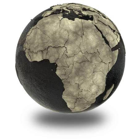oily: Africa on 3D model of planet Earth with black oily oceans and concrete continents with embossed countries. Concept of petroleum industry or global enviromental disaster. 3D illustration isolated on white background with shadow.