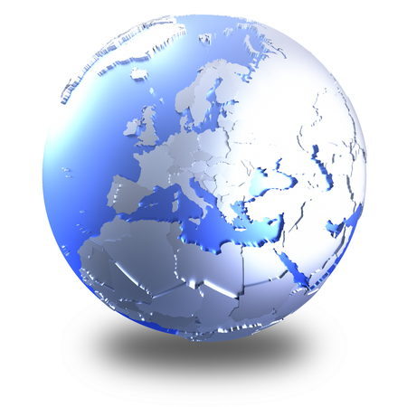 Europe on bright metallic model of planet Earth with blue ocean and shiny embossed continents with visible country borders. 3D illustration isolated on white background with shadow. Stock Photo