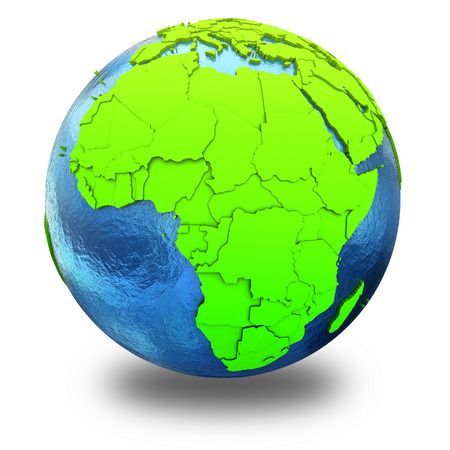 watery: Africa on elegant green 3D model of planet Earth with realistic watery blue ocean and green continents with visible country borders. 3D illustration isolated on white background with shadow.