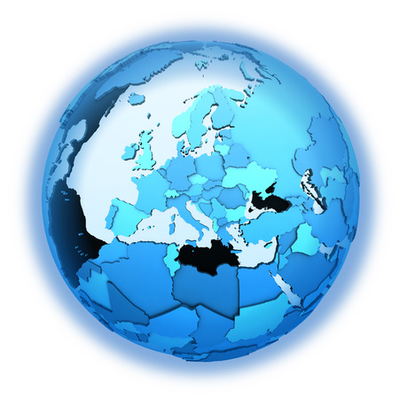 diplomatic: Europe on translucent model of planet Earth with visible continents blue shaded countries. 3D illustration isolated on white background with shadow. Stock Photo