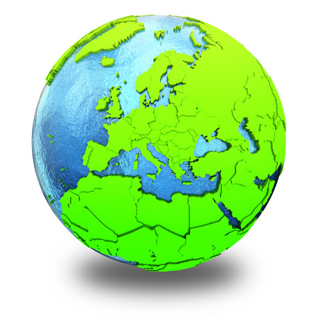 watery: Europe on elegant green 3D model of planet Earth with realistic watery blue ocean and green continents with visible country borders. 3D illustration isolated on white background with shadow.