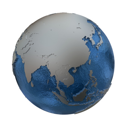 watery: Southeast Asia on elegant silver 3D model of planet Earth with realistic watery blue ocean and silver continents with visible country borders. 3D illustration isolated on white background.