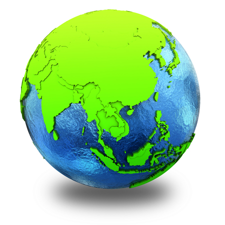 watery: Southeast Asia on elegant green 3D model of planet Earth with realistic watery blue ocean and green continents with visible country borders. 3D illustration isolated on white background with shadow.