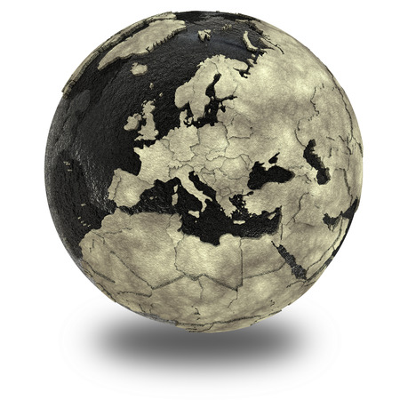 oily: Europe on 3D model of planet Earth with black oily oceans and concrete continents with embossed countries. 3D illustration isolated on white background with shadow.